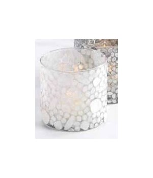 Capiz Glass Votive Holder, White