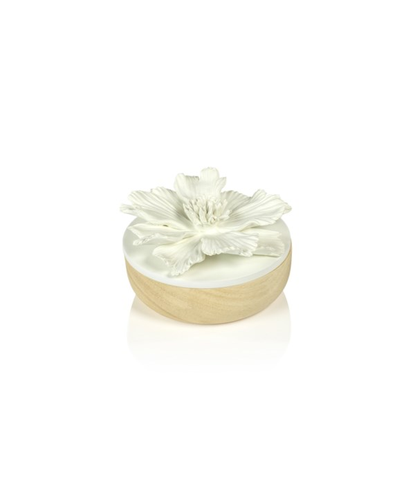 Small Cosmos Porcelain and Natural Wood Flower Box, White
