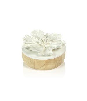 Large Cosmos Porcelain and Natural Wood Flower Box, White