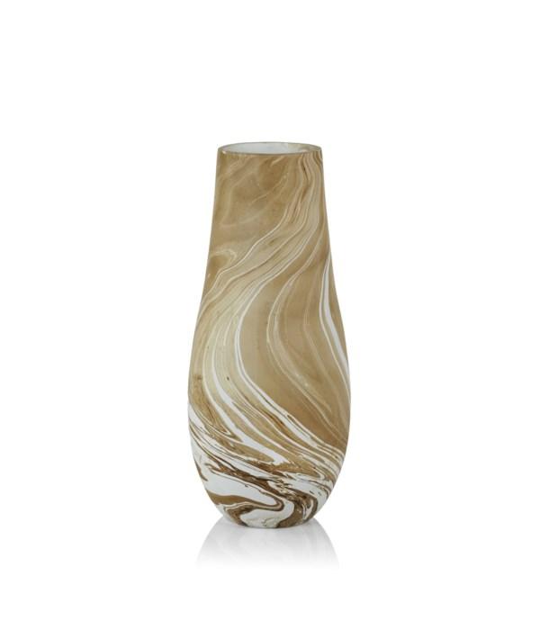Natural Latte Mango Wood Marbleized Vase, Small