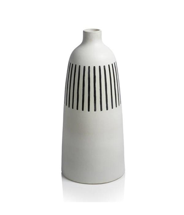 Salento All White Earthenware Vase with Black Stripes