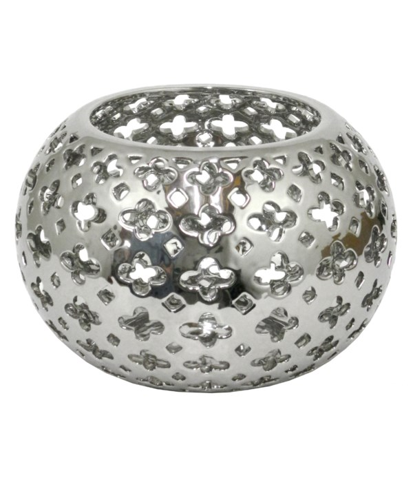 """Pierced Silver Ceramic Bowl With Glossy Finish, 7.25"""""""