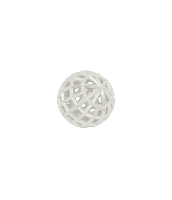 "Decorative White Resin Orb, 4"""