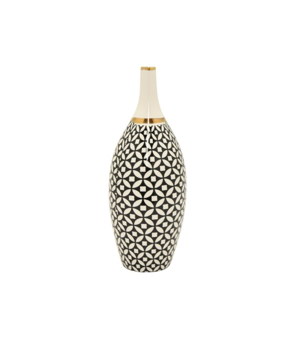 """Vase, Black & Gold, 13"""""""