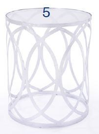 Silver End Table w/ Glass Top