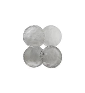 Cast Oil Drum Wall Discs, Silver Leaf, Set of 4