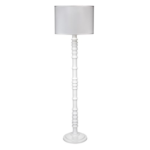 Longshan White Floor Lamp with Large Drum Shade