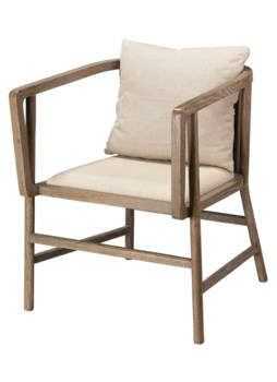 Grayson Arm Chair in Grey Wood and Off White Linen