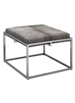 Lg Shelby Stool, Grey Hide & Nickel