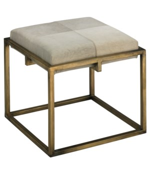 Shelby Stool, White Hide with Antique Brass