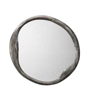 Organic Round Antique Iron Wall Mirror