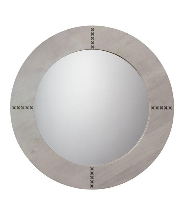 Owen Round Mirror, Grey Washed Wood