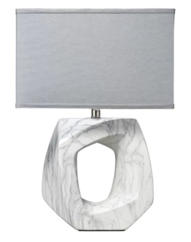 Quarry Table Lamp, Marbeled Ceramic w Rect Shade