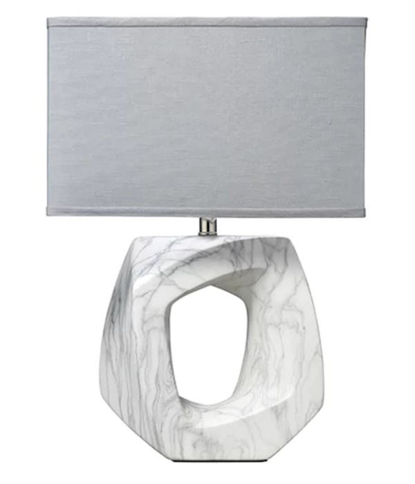 Quarry Table Lamp, Marbeled Ceramic with Rectangle Shade