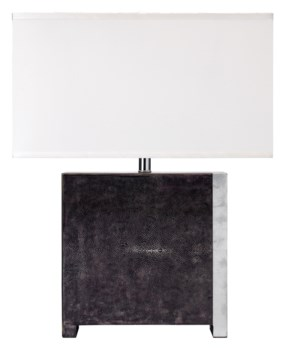 Raymond Table Lamp in Black Faux Shagreen
