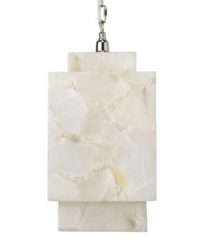 Borealis Cube Pendant in Alabaster