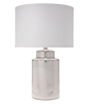 Celeste Table Lamp, Silver & White