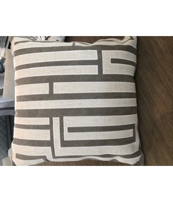 Abstract Embroidered Fretwork Pillow, 9441-P20, GR R