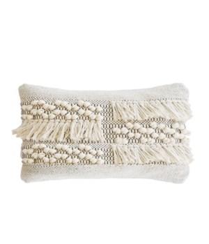 Zahra Pillow, Ivory & Grey