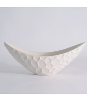 Honeycomb Long Bowl, Matte White