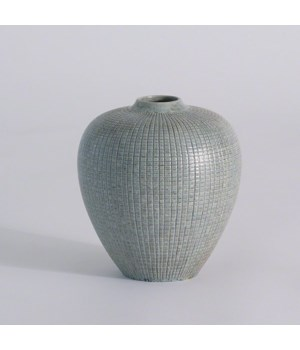 Mini Check Bulbous Vase, Reactive Silver Blue