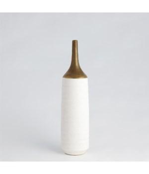 Two Toned Vase, Gold/White, Medium
