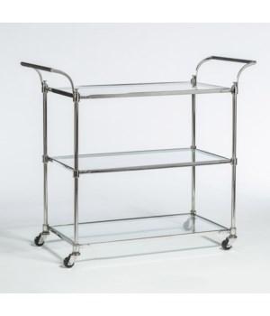 Wakefield Bar Cart, Polished Chrome
