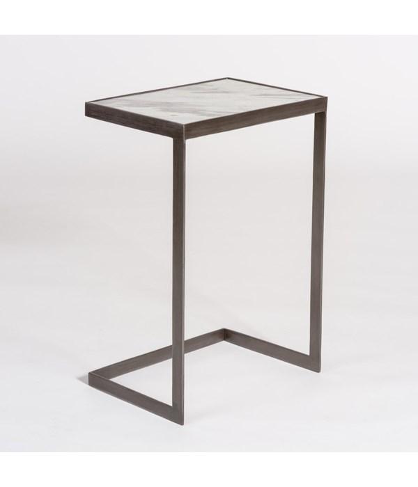 Laguna Accent Table, Marble Top, Gunmetal