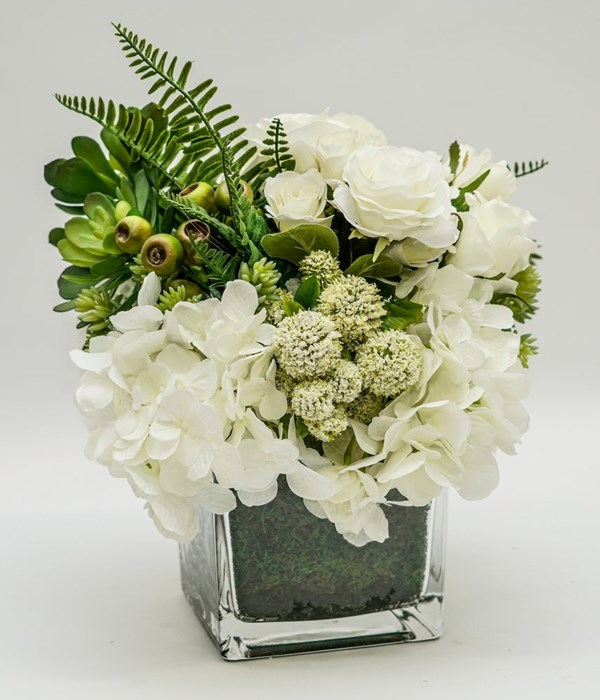 White Hydrangea Floral with Succulents