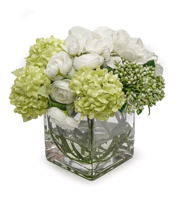 Hydrangea/Echeveria/Ranunculus Cube