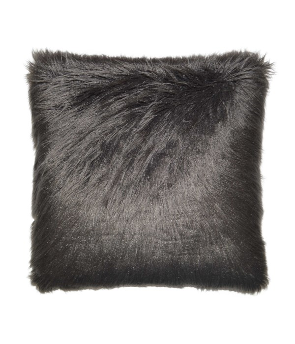 Llama Fur Square Charcoal Pillow