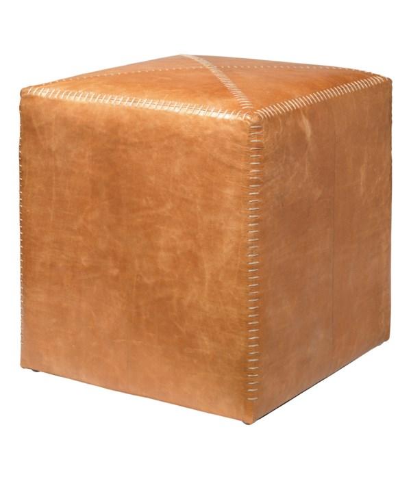 Small Buff Leather Ottoman