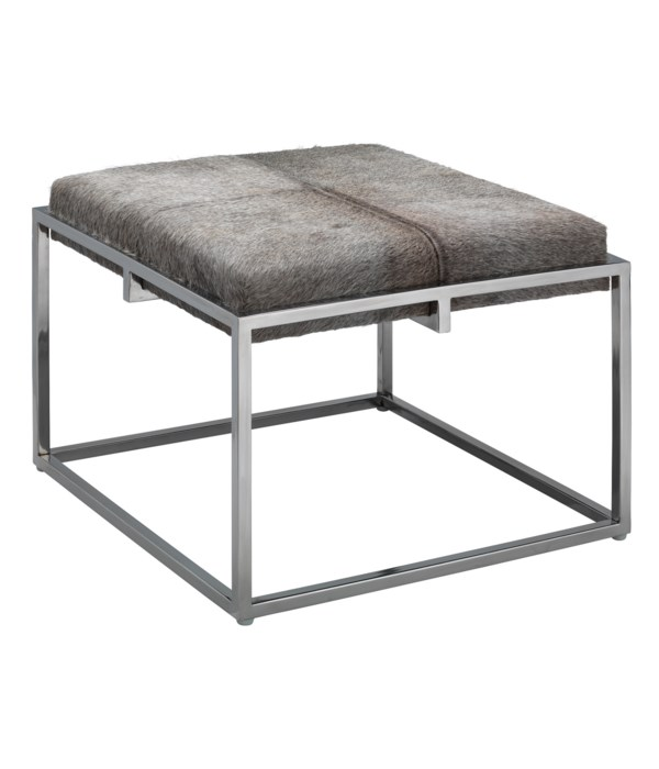 Large Shelby Grey and Nickel Stool