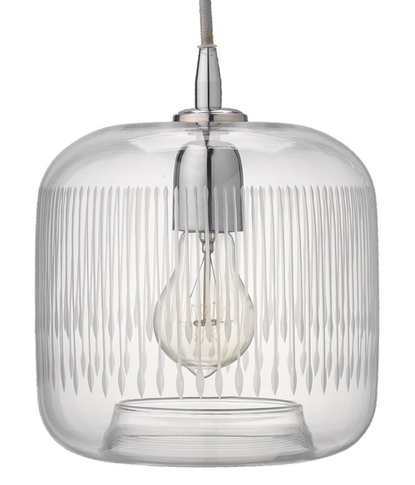 Contour Clear Glass and Nickel Pendant