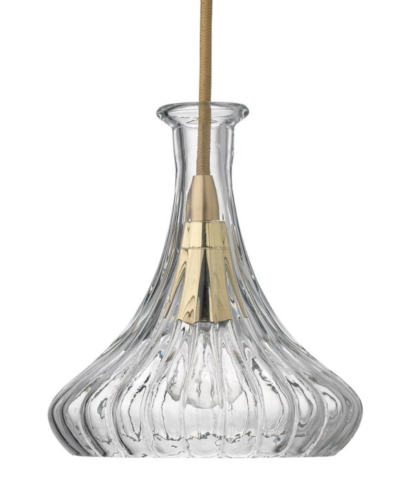 Isabella Carafe Clear Glass and Brass Pendant