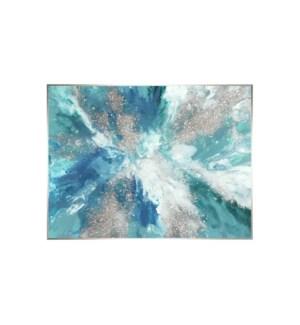 40x30 Aqua Strokes II, Glass Coat, Frame 36P1708