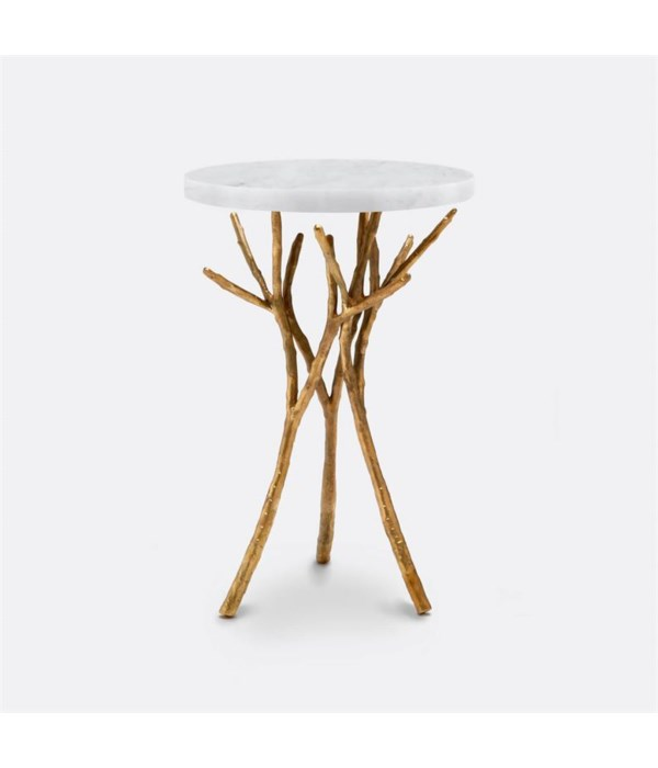 Tressa Polished Gold Side Table, Marble Carrara Top