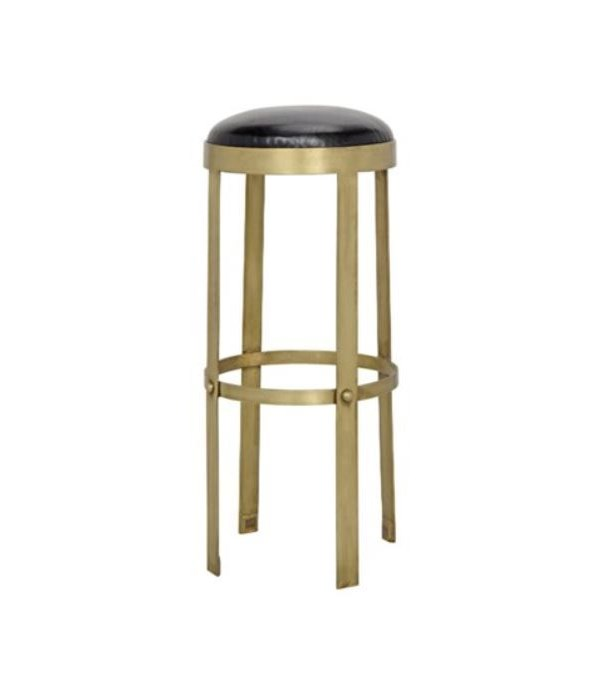 Prince Stool with Leather, Brass