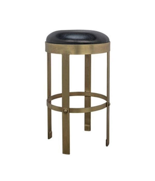 Prince Counter Stool with Leather, Brass