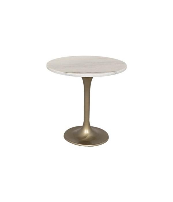 """Laredo Table, 20"""", Antique Brass, Metal and Quartz"""