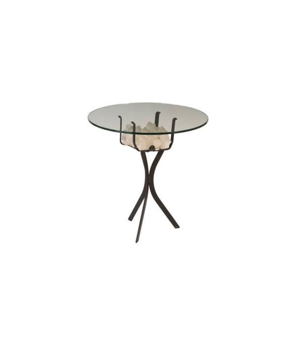 "White Quartz Crystal Coffee Table Base w,  24"" Glass"