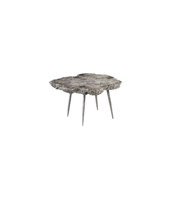 Wood Coffee Table Grey Stone, Forged Legs
