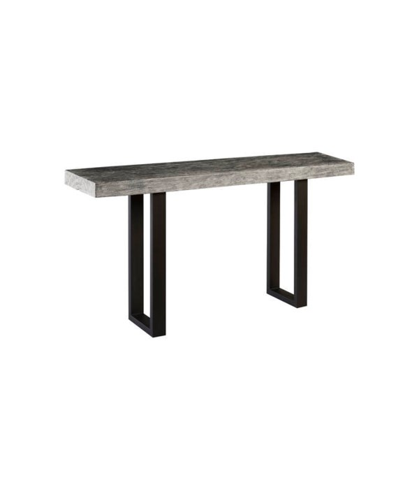 Wood Console Table Metal U Legs, Grey Stone