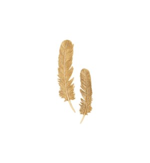 Feathers Wall Art, Gold Leaf, Set of 2, Large