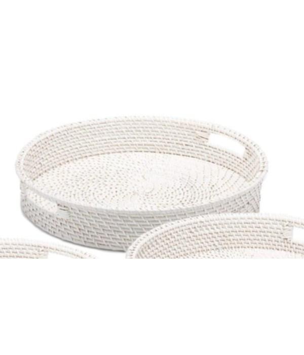 White Rattan Round Tray, Large