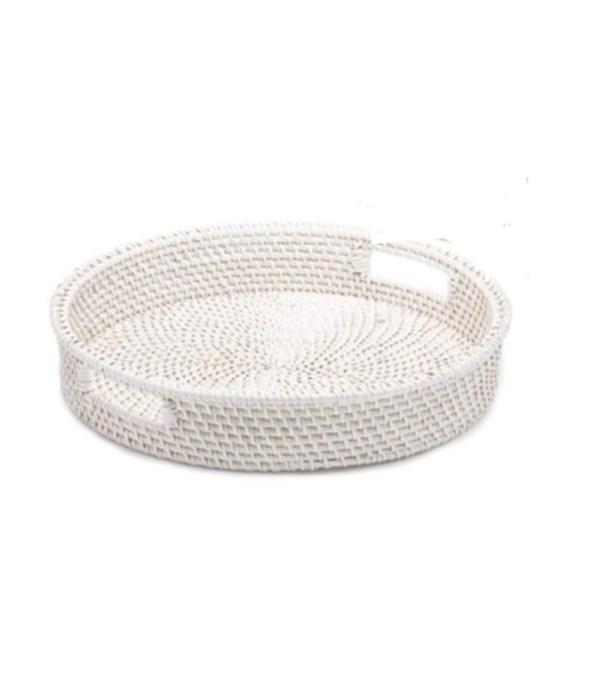 White Rattan Round Tray, Small