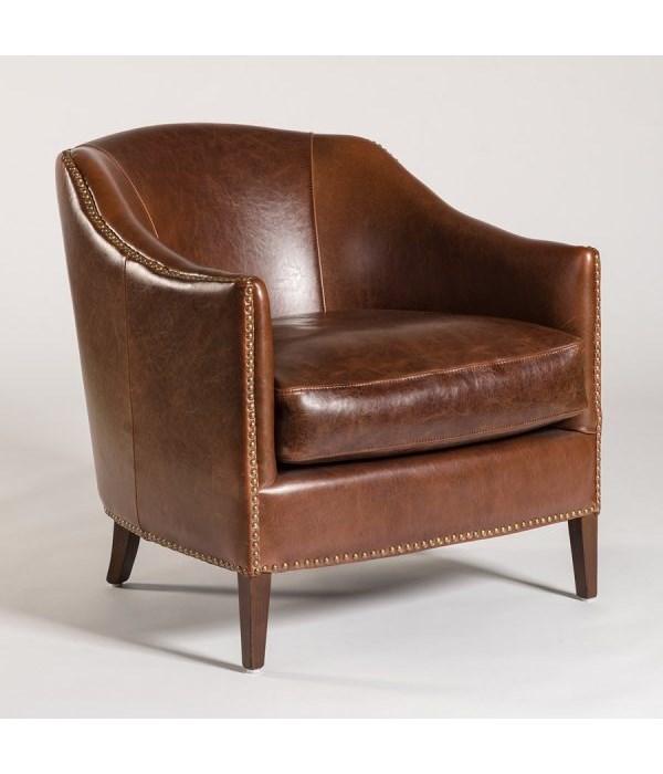 Madison Occasional Chair, Antique Saddle, Dark Walnut