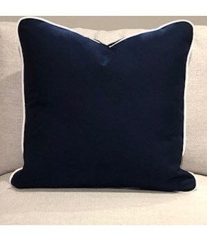 Large Throw Pillow, Linen Indigo, Welt W457