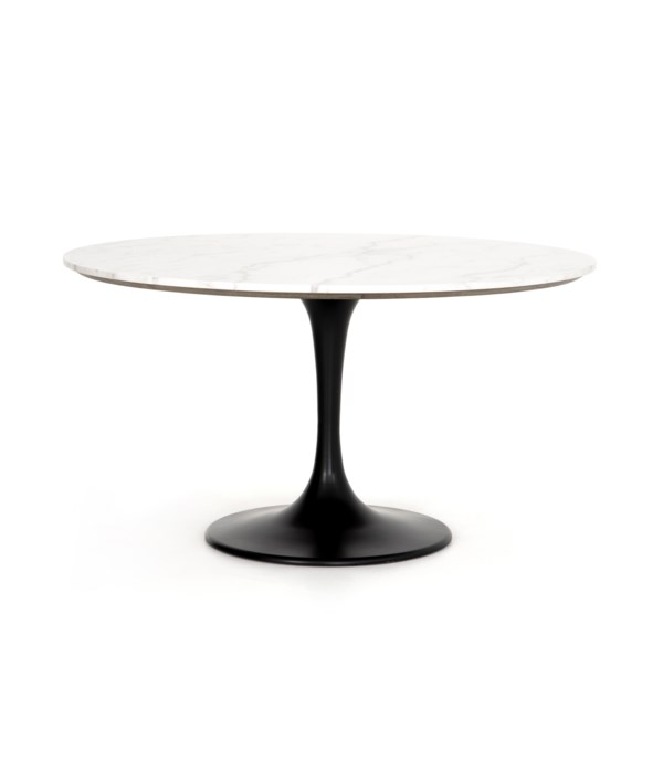 Powell Dining Table, White Marble