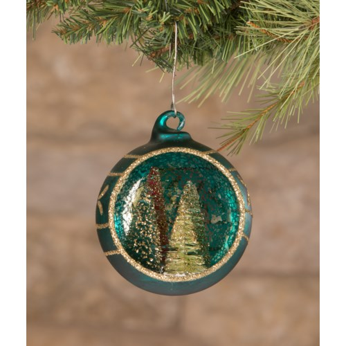 Jewel-Tide Bottle Brush Tree Indent Ornament 3A